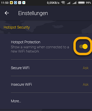 Settings for CyberGhost VPN for Amazon Fire TV / Fire Stick